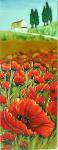 Ceramic Art Tile - Hillside Poppies 6in x 16in