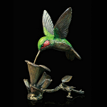 Bronze Hand Painted Hummingbird - In Wooden Box Limited Edition