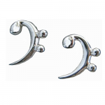 Music Gifts - Bass Clef Earrings - Sterling Silver