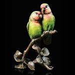 Cold Cast Bronze Hand Painted Lovebirds - In Wooden Box Limited Edition