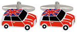 Mini Union Jack Roof Cufflinks Rhodium Plated