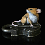 Bronze Hand Painted Mouse on Antique Lock