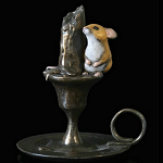 Bronze Hand Painted Mouse on Candlestick
