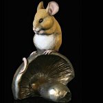 Bronze Hand Painted Mouse on Mushroom