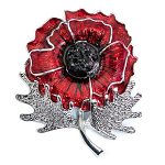 Poppy Brooch - Large Poppy on Stem