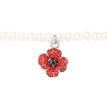 Poppy Bracelet - Pearl Stretch & Poppy Charm
