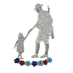 SSAFA Brooch - Soldier & Child with SSAFA Colours