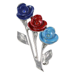SSAFA Brooch - 3 Roses in SSAFA Colours