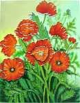 Ceramic Art Tile - Poppy Posy 11in x 14in