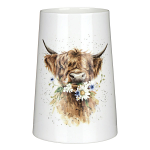 Royal Worcester Wrendale Designs - Vase 20cm - Highland Cow with Flowers