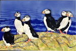 Ceramic Art Tile - Puffin Paradise 8in x 12in