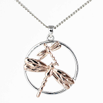 Rose Gold Pendant - Dragonfly