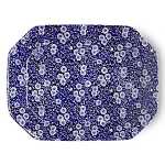 Burleigh Blue Calico Rectangular Platter 34cm or 13.5in