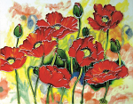 Ceramic Art Tile - Red Poppies 11in x 14in
