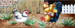 Ceramic Art Tile - Roosters 6in x 16in