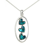 Paua Shell Pendant Large - Three Hearts