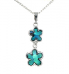 Paua Shell Pendant Small - Two Flowers 25mm