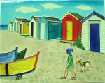 Ceramic Art Tile - Seaside Holiday Beach Huts 11in x 14in