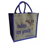 Jute Shopping Bag - Sisters are Great