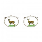 Stag Image Oval Cufflinks Rhodium Plated
