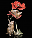 Bronze Hand Painted Mice with Poppy Limited Edition