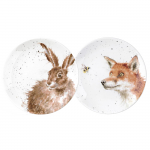 Royal Worcester Wrendale Designs - 6.5in Coupe Plates Set of 2 Fox and Hare