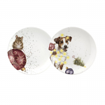 Royal Worcester Wrendale Designs - Coupe Plate Set of 2 Mouse & Dog