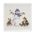 Royal Worcester Wrendale Designs - Square Plate Snowman 18cm 7inch