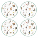 Royal Worcester Wrendale Designs - Placemats Round Farmyard Feathers Set of 4