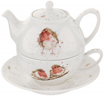 Royal Worcester Wrendale Designs - Tea For One with Saucer - Robin