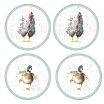 Royal Worcester Wrendale Designs - Coasters Round - Farmyard Feathers - Set of 4