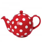 London Pottery Globe Teapot 6 Cup Red with White Spots