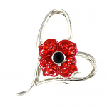 Poppy Brooch - 4 Petal in Heart