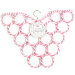 Scarf Hanger - Striped Butterfly Light Pink