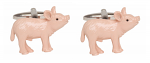 Pink Pig Cufflinks 3D Design Rhodium Plated