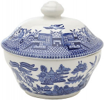 Churchill China Blue Willow Covered Sugar Bowl (Georgian) 160ml
