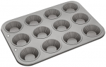 Judge Bakeware - Fluted Bun Tin 12 cup 35.5x27x2.4cm