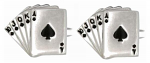 Fan of Spade Cards Shiny Rhodium Plated Cufflinks