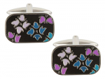Blue Purple and Black Enamel Cufflinks