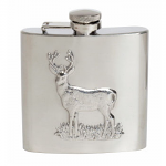Hip Flask Stag Design 6oz Shiny Stainless Steel