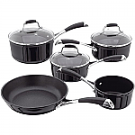 Stellar Black Induction 5 Piece Set 14/16/18/20cm & 24cm Frying Pan