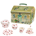 Emma Bridgewater Pink Hearts - 19 Piece Melamine Tea Set in House Carry Box
