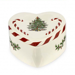 Spode Christmas Tree - Peppermint Lidded Heart Box 13cm