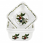 Portmeirion Holly & Ivy Square Mini Dishes Set of 3