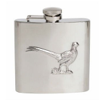 Hip Flask Pheasant Design 6oz Shiny Stainless Steel