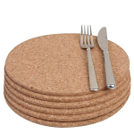 T&G Cork - Set of 6 Round Tablemats in FSC certified cork