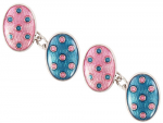 David Aster - Double Oval Chain Link Blue & Pink Spots Cufflinks