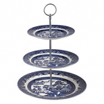 Churchill China Blue Willow 3 Tier Cake Stand