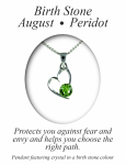 Birthstone Heart Pendant August Peridot