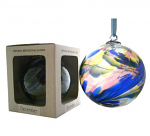 Amelia Birthstone Glass Friendship Ball - December in Blue Yellow Pink